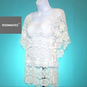 Roommates Lace Blouse Top Shell White Medium